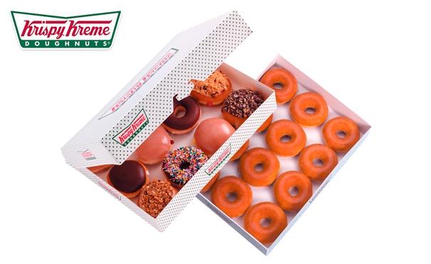 Скидка на Самый продаваемый пончик Krispy Kreme + второй кофе в подарок: капучино, американо, латте стандартных размеров (М) в сети кофеен Krispy Kreme со скидкой 50%