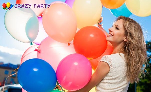 Скидка на Связки гелиевых шаров с обработкой Hi-Float или букеты разноцветных ромашек из воздушных шаров от компании Crazy Party. Скидка до 60%