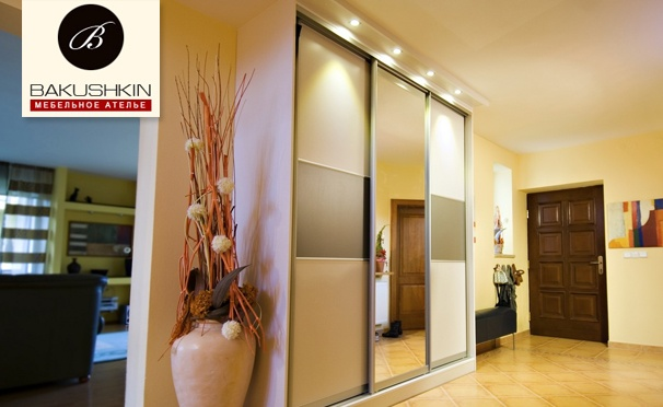 Скидка на Шкафы-купе от мебельного ателье Bakushkin: алюминиевая система Versal, ДСП Egger, панельные или зеркальные двери. Скидка 50%